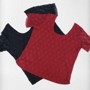 Bongo Lace Tops 2 Red Black 2X 1X